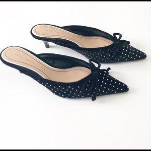Zara Black Studded Velvet Kitten Heel Mules Slides